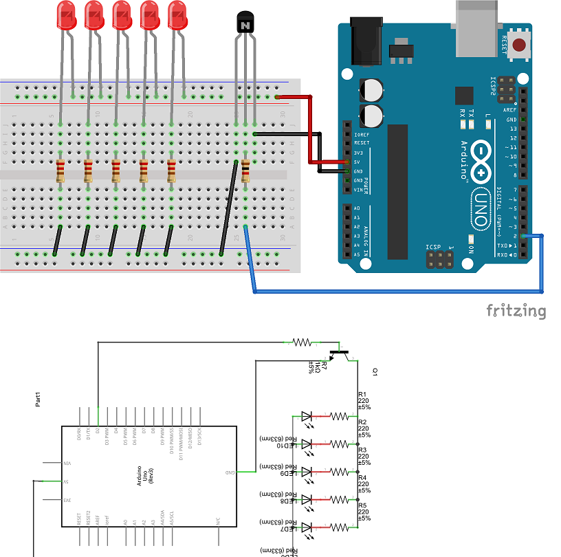 Powering multiple LEDs from a single Arduino pin using a transistor
